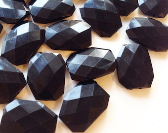 XL Black faceted beads - acrylic beads for jewelry making - 39mm size