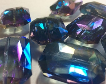 34mm Glass Crystal in Blue / Purple - faceted crystals for jewelry creation, bangle making
