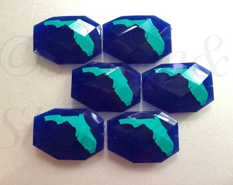 Turquoise Florida on Royal Blue Beads - Faceted Nugget Bead - Flat Rate Shipping 34mm x 24mm