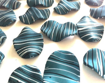 XL Teal matte Chunky beads - acrylic dark blue painted beads for jewelry making - 45x30mm
