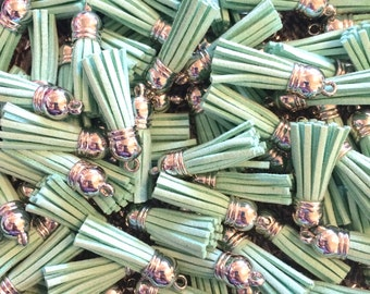 MINT GREEN Capped Suede Tassels - Short Chic Keychain or jewelry making - Flat Rate shipping