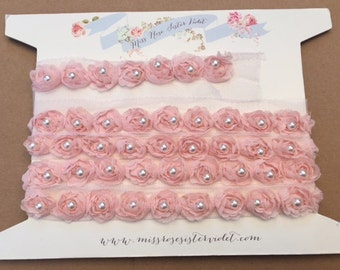 pearl rosebud trim. rosebud and pearl ribbon tri. pearl and rosebud embellishing trim