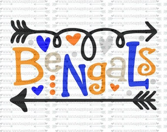 SVG, DXF, EPS Cut file, Bengals fun arrows svg, svg file socuteappliques, SvG Sayings, football svg, football sister svg, football mom svg