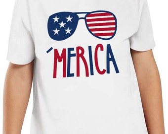 4th of July Red White and Blue 'Merica (America) Kids T-Shirt