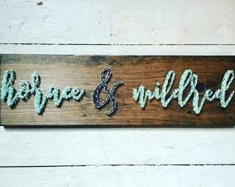 Modern and vintage names string art with ampersand, wedding gift, anniversary gift, bridal shower gift