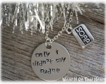 A Christmas Story movie inspired quote hand stamped necklace only i didn't say fudge ralphie parker red ryder bb gun ORIGINAL design