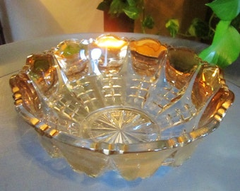 Vintage Clear Glass Scalloped Rim Bowl with Gold Inlay, Gold Glass Bowl