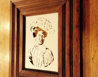 Victorian woman paper cutting in a found frame
