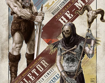 """He-Man vs. Skeletor 11""""x17"""" Fight Poster"""