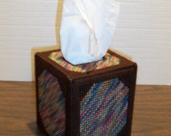 Handmade Plastic Canvas Yarn Square Tissue Box Cover/Holder Browns Painted Desert
