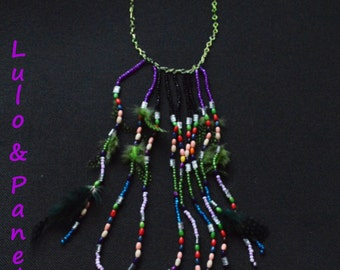 Lima, breastplate necklace beads and feathers