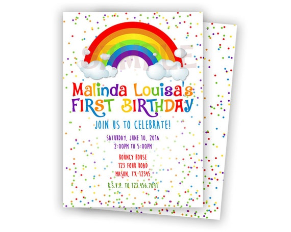printable rainbow birthday invitation by partyprintexpress, Birthday invitations