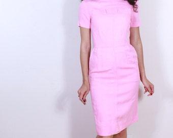 1950s Pink Wiggle Cotton Dress
