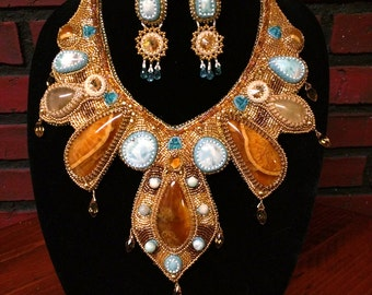Winter Solstice, bead and gem embroidery necklace and earrings set, larimar, simbircite and golden rutile quarz, hand made beaded jewelry