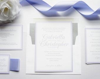 Light Purple Wedding Invitation - Purple Wedding Invitation, Simple, Elegant, Classic Purple Wedding Invite - Deposit