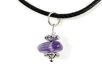 Jewelry Amethyst pendant, gemstone stone healing crystal jewelry, genuine amethyst necklace, earthy pendant necklace, earthy jewelry, zai