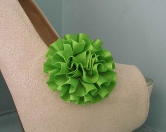 Beautiful Deeree Lime Green Rosette Style Shoe Clips