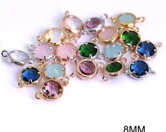DIY Jewelry Findings, Semi Precious stone findings, Round connector charms, Semi precious stone pendants, 8mm Round stone charms