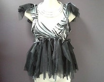 WOMANS FESTIVAL TOP, black grey top, bohemian fairy, goth tutu top, black tulle top burning man clothing, dance rave costume, small woman