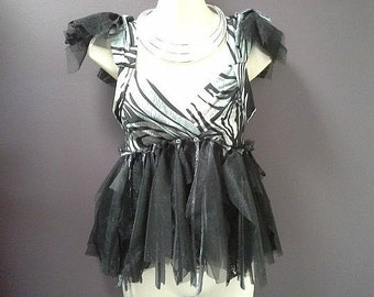 SALE 40% OFF, womans festival top, black grey top, bohemian fairy, goth tutu top, black tulle top,  burning man clothing, small woman top