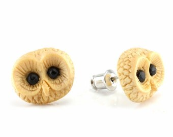 "Hand Carved - ""Barred Owl"" - Crocodile Wood with Ebony Wood Inlay - Stud Earring - Wisdom of Owls"