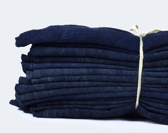 Pure Hill Tribe Indigo Cotton Fabric Sheet -  Handspun Handwoven Hmong Indigo Plant Dyed Organic Cotton Textile : 170cm x 85cm