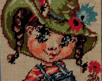 Vintage 60s French big eyed girl tapestry adorable 60s girl child tapestry picture wall hanging