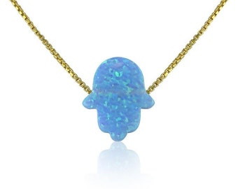 """Opal Hamsa Necklace • Light Blue Opal • 14"""" to 22"""" Inch Long Chain options • Waterproof • Opal Hamsa Necklaces Are Hot Trending Now"""