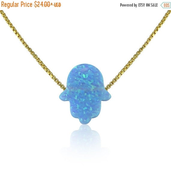 "Opal Hamsa Necklace • Light Blue Opal • 14"" to 22"" Inch Long Chain options • Waterproof • Opal Hamsa Necklaces Are Hot Trending Now"