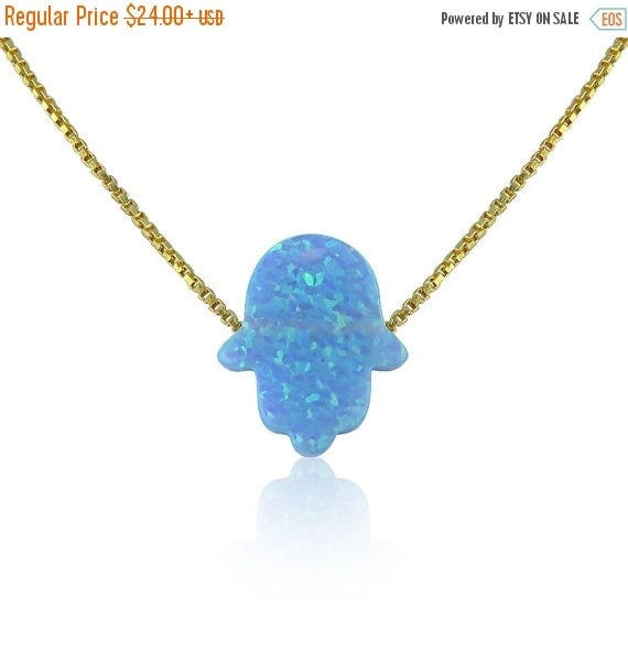 "Light Blue Opal Hamsa Necklace • 14"" to 22"" Inch Long Chain options • Waterproof • Opal Hamsa Necklaces Are Hot Trending Now"