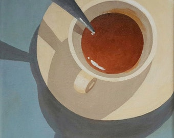 Coffee Cup Painting, 8x8 Still Life Painting, Kitchen Art