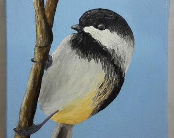 Black Capped Chickadee Painting, Bird Nature Oil Painting, 6x6 Inches Canvas
