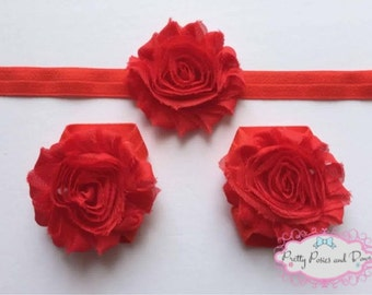 Red Baby Barefoot Sandals, Red Flower Headband, Barefoot Sandals