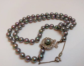 Vintage faux pearl silver necklace