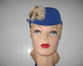 1940's-50's Royal Blue Jersey Toque with Streamers / Marilynn