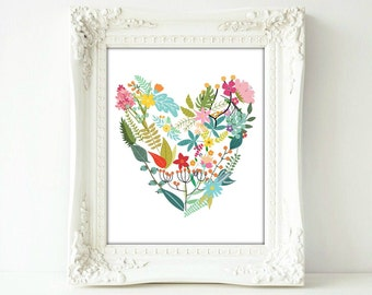 Printable, Heart, Botanical, Floral, Love, Poster 8 x 10, Art, Flowers Print