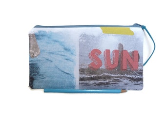 Beach and surf pencil case, cosmetic case, Small pouch, beach pouch, Gadget pouch, teacher gift, School supplies, sun and surf print