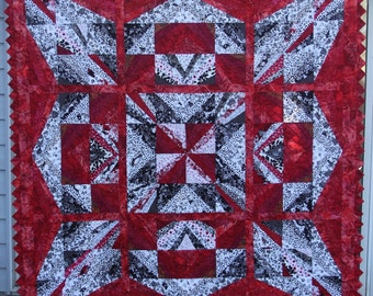 """Art quilt, sofa throw, wall hanging,  size 72"""" x 72"""", modern abstract quilt"""