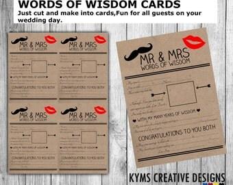 Wedding advice cards | Etsy