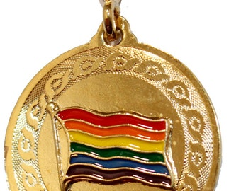 Gay Pride Flag Pendant with 22 inch Chain - Gay Pride Necklace