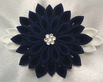 Navy And White Kanzashi Style French Barrette