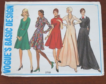 Vintage Vogue's Basic Design 1970s dress pattern 2781. Size 14. Uncut
