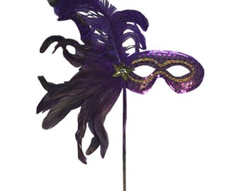 """14"""" Feather Sequin Mask, Mardi Gras Mask, Deco Poly Mesh Wreath Supplies -"""