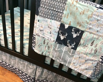 Custom Crib Bedding Set, Made to Order, Woodland set, navy, mint and grey