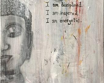 Mantra For Self Accountability Original Print- Buddhist Art, Zen Art