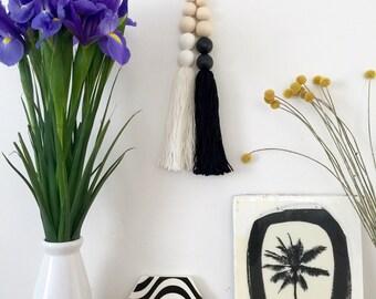 Monochrome White Jumbo Scandi Boho Tassel Drop on Leather Nursery Decor Beach Hamptons House