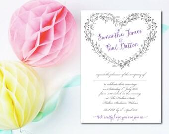 20 Wedding Invitations - Rustic Heart