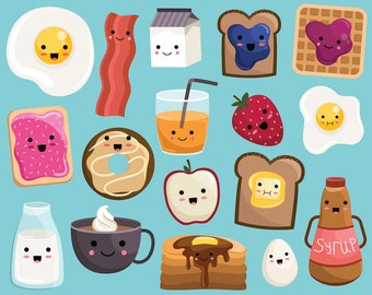 Kawaii Breakfast Food Clipart - Vector, PNG & JPG Files - 300 DPI Cute, Hand Drawn Food Clip Art Set
