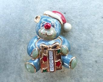 Vintage Signed Swarovski Christmas Bear Brooch figural AB612