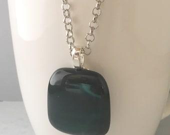 Black fused glass pendant, fused glass pendant, green glass pendant, black necklace, green glass necklace, glass pendant